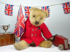 Wave that flag Rory!!  a lovely old Chiltern bear C1930  www.onceuponatimebears.co.uk