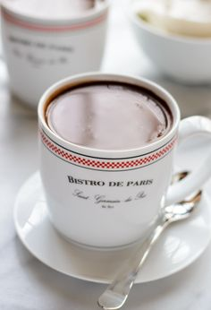 The best French Hot Chocolate. Dark hot chocolate recipe that tastes as good as in France!