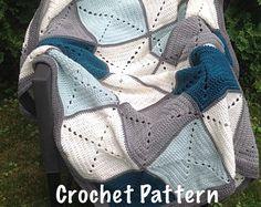 Gris y verde azulado Basic abuela Plaza Patchwork ganchillo