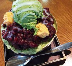 Korean typical patbingsu  Green tea ice crean and red beans