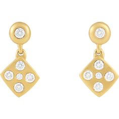 Linda Lee Johnson Momento Earrings ($6,300) ❤ liked on Polyvore featuring jewelry, earrings, colorless, linda lee johnson, bezel set earrings, post earrings, clear jewelry and clear earrings