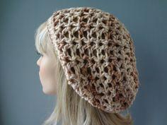 Cotton Blend Open Weave Slouch Tam Hat Snood Beret. by yarnnscents, $15.00