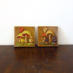 Two retro mushroom wall hangings #vintage #etsy