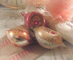 Three Vintage Christmas Handpainted Glass Indented by vintageaddie, $16.00