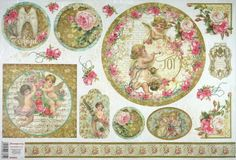 Rice Paper for Decoupage Decopatch Scrapbook Craft Sheet Vintage Angels & Rose