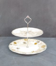 New to DancingDishAndDecor on Etsy Winter Cake Plate 2 Tier Plate Stand Snowflake Serving Dish & Tiered Cake Stand Tiered Dessert Stand Royal Norfolk Stand Two ...