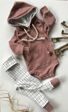 Hooded Bodysuit set yoga band pants boy/girl NB-2T