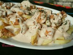 Kebab s jogurtom a hranolkami (fotorecept) - recept Potato Salad, Food And Drink, Potatoes, Cheese, Ethnic Recipes, Kebabs, Google, Diet, Food And Drinks