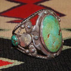 Navajo Figural Turquoise Bracelet from uchizonogallery on Ruby Lane