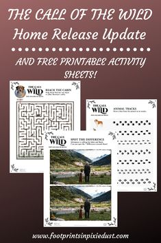 Enjoy these fun printables from Century Studios' The Call of the Wild and be sure to pick up your copy digitaly and on Movies Anywhere. Printable Activities For Kids, Free Printables, Call Of The Wild, Activity Sheets, Matching Games, Kids And Parenting, Coloring Pages, Around The Worlds, Footprints