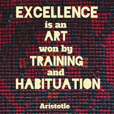 """Excellence is an art won by training and habituation. We do not act rightly because we have virtue or excellence, but we rather have those because we have acted rightly. We are what we repeatedly do. Excellence, then, is not an act but a habit."" Aristotle #philosophy #aristotle #win #excellence #training #art #tapestry #habit #habits #great #greatness #excel #excellent #vehemenceandemergence #voiceofthevoiceless #quotes #quote #philosopher #success"