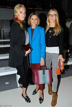Shoebusiness: Poppy Delevingne and Olivia Palermo both wore slipper shoes to the Anya Hindmarch fashion show held at the Tate Modern on Tuesday