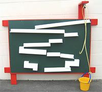 Waterwall/chalkboard. Buy metal sheeting paint with chalkboard paint. Buy rain gutters and attach presunk drilling hole magnets.