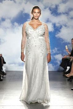 e80cfab2ad31 Jenny Packham 2015 plus size empire waist wedding dress with illusion  sleeves -  Dress
