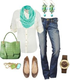 """turquoise & green"" by bonnaroosky on Polyvore"