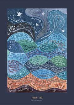 Hannah Dunnett, Psalm 139 poster, Christian art, religious art, print with verses Scripture Art, Bible Art, Bible Verses, Scriptures, Scripture Images, Bible Quotes, Christian Greetings, Christian Greeting Cards, Psalm 139