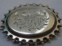 Large Antique Victorian Solid Silver Engraved Fuschia Brooch Circa 1880s 6.6g