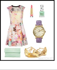 Garden party inspiration: This delicate gold and lilac purple Timex is great when paired with florals, metallics, and pastel tones.  Wear it with any of your spring and summer outfits! watchit.ca