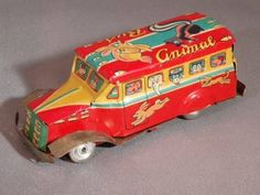 VINTAGE RARE TIN TOY ANIMAL CIRCUS HOT ITEM JAPAN CIRCA 1954 #136A-1 #Bandai