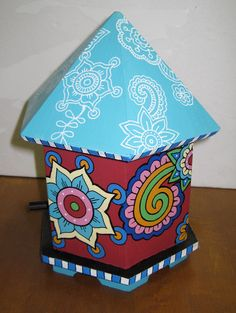 Adorably Bold Hand Painted Birdhouse by ColorCantHurtYou on Etsy