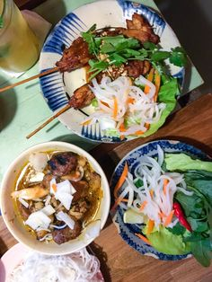 Bún Chá - bbq porkballs and porkbelly in a warm dip served with rice noodles and fresh herbs