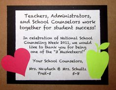 national school counseling week. Totally wish I had a co-counselor so I could do something like this. Still goingbto do something.