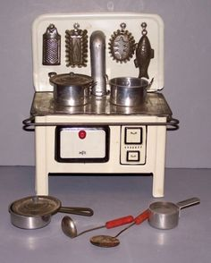 Vintage toy stove set, 1950's.