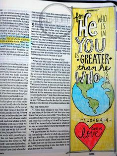 Artsy Faith: 1 John 4:4 Bible art journaling, illustrated, memory verse, faith
