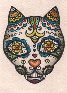 ACEO - Dia de Muertos Cat (Day of the Dead) Folk Art - Original Art