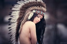 """indian spirit by ~Hart-Worx on deviantART A blatant and sexualized appropriation of the headdress as well as flippant use of the term """"indian spirit"""" to evoke a racist romanticism to go with the photograph"""