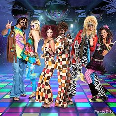 Have your group pair off and pick costumes from a favorite era. Are you a hippie chick Disco dude rocker Duo Costumes, Group Costumes, 70s Costume, Vampire Costumes, Costume Ideas, Disco Costume, Decade Party, 70s Party, Retro Party