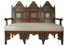 Syrian Bench   Sheherazade  Incredibly stunning, this vintage bench is crafted from walnut and boasts artfully carved mother-of pearl and bone inlays in traditional Syrian motifs.