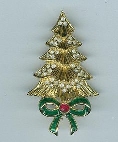 A and T Christmas Tree Pin Brooch Gold Metal Rhinestones Green Enamel Bow - Christmas in July Sale #cshort0319