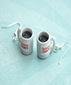 dunkin donut coffee earrings