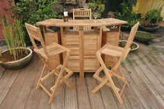 """Premium Teak 62"""" Altavista Folding Bar Table plus 4 Altavista Folding Bar Chairs by Anderson Teak by Anderson Teak. $2345.00. Teak wood construction. Slat back and seat design bar stools. Includes rectangular folding bar table and 4 folding bar stools. Table comes with plenty of rooms to store bottles and glasses. Seating capacity: 4 to 6. """"Used outside or inside, this solid teak bar set will last for many generations and can be used in the highest of humidity situations with no..."""