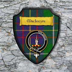 MacIntyreShield Plaque with Scottish Clan Coat of Arms Badge on Clan Plaid Tartan Background Wall Art by YourCustomStuff on Etsy https://www.etsy.com/listing/550756534/macintyreshield-plaque-with-scottish