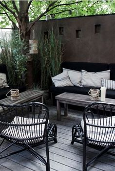 Garden Tuin Inspiration Inspiratie Terras Patio Black Zwart Wicker Lounge <3 #Fonteyn