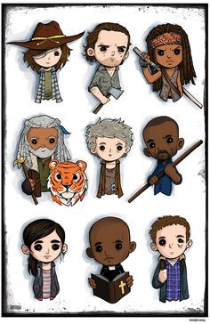 The Walking Dead characters by Christopher Uminga Walking Dead Funny, Walking Dead Zombies, Carl The Walking Dead, Walking Dead Pictures, Walking Dead Drawings, Riggs Chandler, Walking Dead Characters, The Walkind Dead, Bd Art
