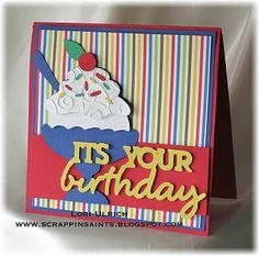 Cricut - Birthday Bash cartridge, Doodlebug County Fair DP & Bazzill Card stock
