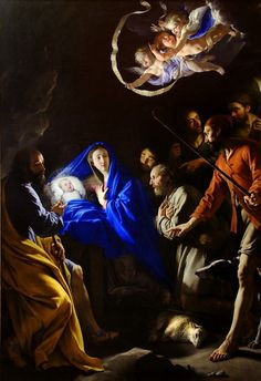 Adoration of the Shepherds by Philippe de Champaigne (1602–1674), a Brabançon-born French Baroque era painter, a major exponent of the French school