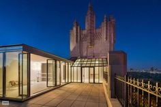 55 Central Park West New York Penthouse ROOF DECK AT NIGHT