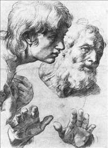 study of heads and hands, by Raphael.