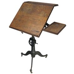 View this item and discover similar for sale at - a very handsome antique adjustable tilt-top drafting table c. 1910 with a cast iron base, cast iron height adjustment wheel, and tilt mechanism for the Vintage Industrial Furniture, Western Furniture, Industrial Interiors, Refurbished Furniture, Recycled Furniture, Shabby Chic Furniture, Table Furniture, Rustic Furniture, Furniture Design