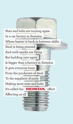 Honda Back to Work campaign from June 2009 by Wieden+Kennedy London, winner of advertising awards at D&AD and ANNA. Advertising Awards, Creative Advertising, Advertising Design, Copy Ads, Typo Poster, Great Ads, Automotive Art, Back To Work, Typography Art