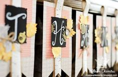 I found this on stampinup.com I've fallen in love with making banners! This one is awesome! You can order the supplies online at joycefisher.stampinup.net Thankful Tablescape Simply Created Kit, Item #133643, $19.95 Build a Banner Simply Created Kit, Item #133507, $19.95