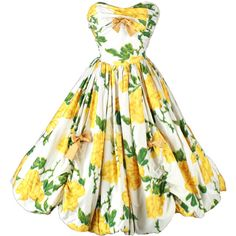 Vintage 1950's Yellow Roses Bubble Hem Cocktail Dress ($10) ❤ liked on Polyvore featuring dresses, vestidos, short dresses, vintage, strapless floral dress, floral cocktail dress, short strapless dresses and strapless cocktail dress