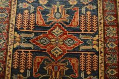 Too small but we like the colors 568 size 3 x 4.4 Kazak Rug / Oriental Rug / by OakParkAntiques
