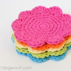 {DIY Crochet Flower Coasters!}  ummm...maybe not in pink....but could be interesting!