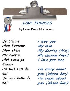 French vocabulary - Love phrases