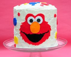 elmo birthday cake for kids...remove elmo and add more dots for a colourful adult party,,,
